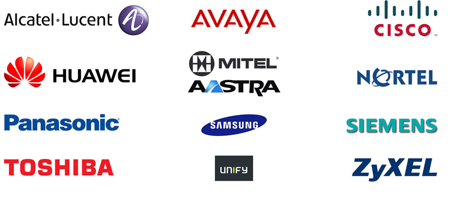 Logos of the companies Telecom Resource work with (Alcatel-Lucent, Avaya, Cisco, Huawei, Mitel/Aastra, Nortel, Panasonic, Samsung, Siemens, Toshiba, Unify, Zyxel)